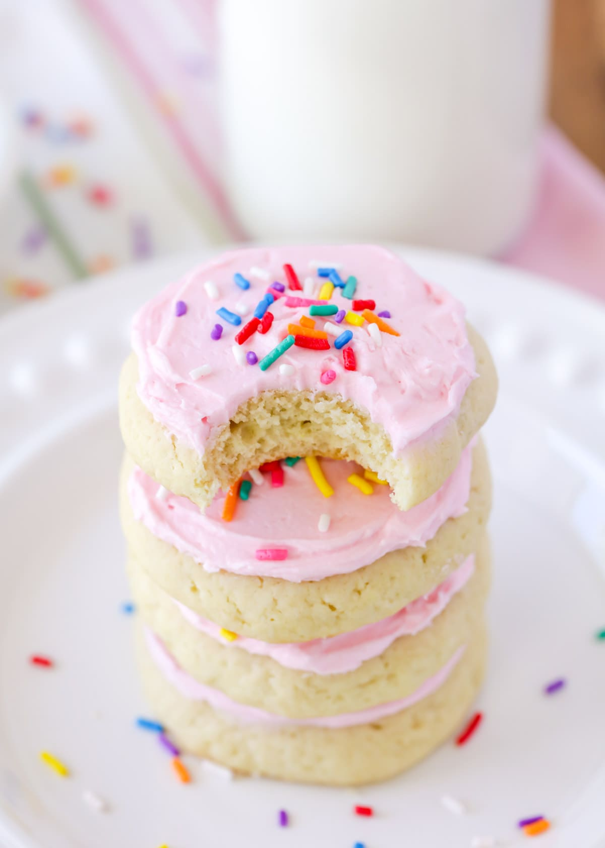 Lofthouse Sugar Cookies Recipe stacked on plate