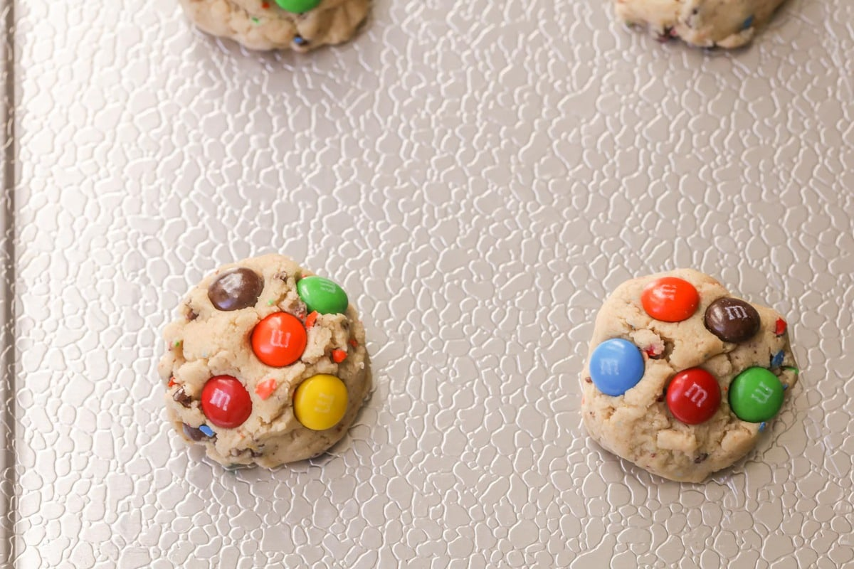 M and M Cookies on cookie sheet