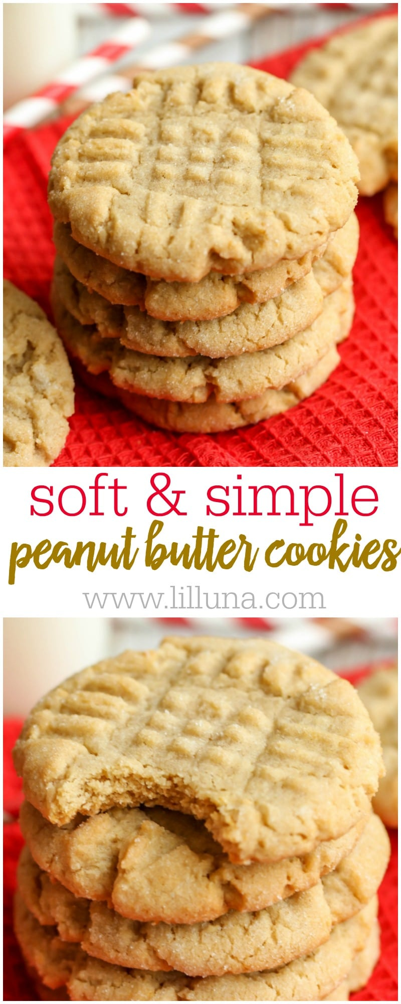 SOFT, delicious and EASY Peanut Butter Cookies recipe - our family's all-time favorite version of this classic cookie that always gets rave reviews!