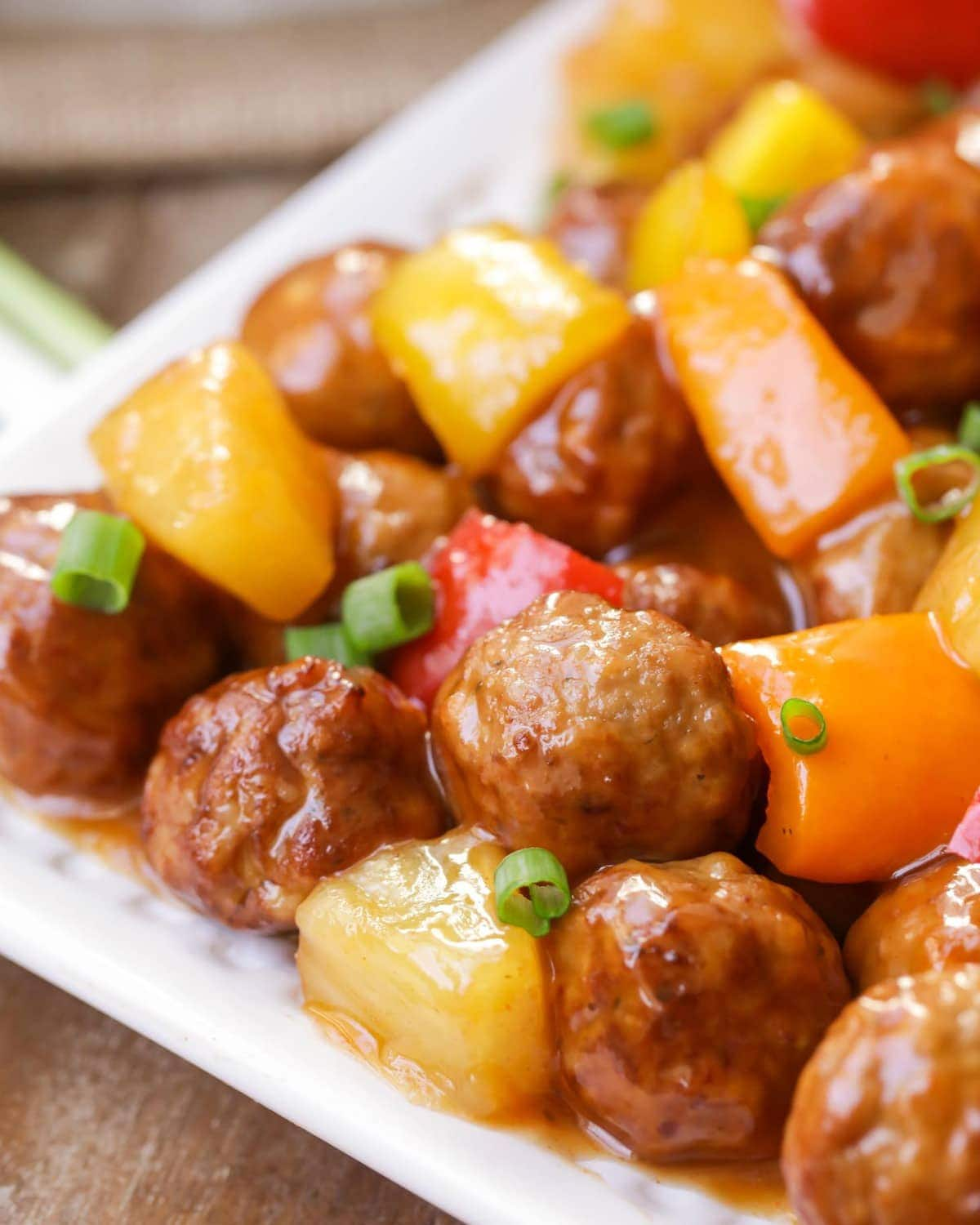 Sweet Sour Meatballs close up image