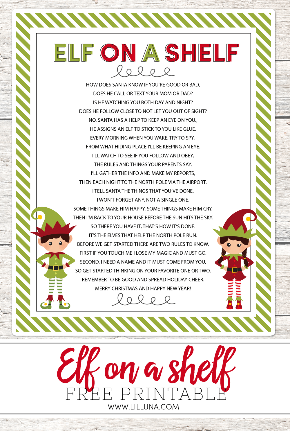 free elf on a shelf printable poem perfect to use this holiday season