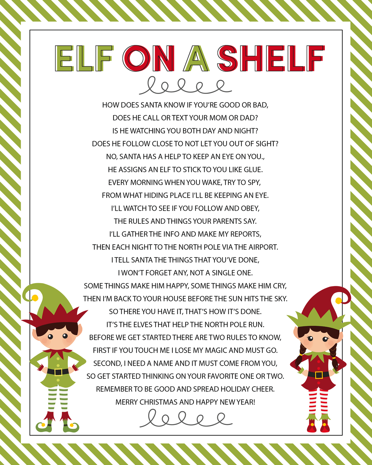 Elf on the Shelf Story - FREE Printable Poem - Lil' Luna