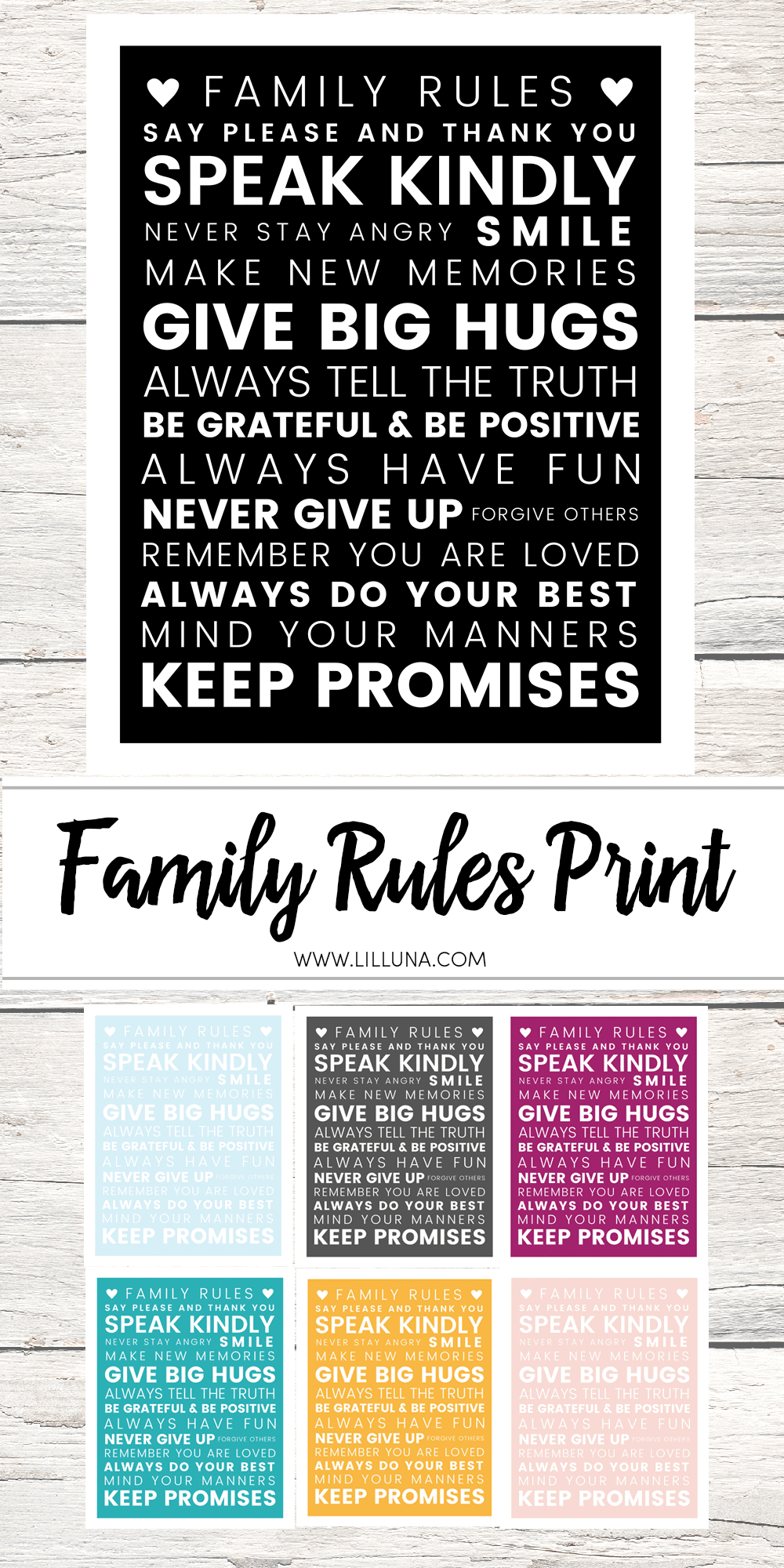 FREE Family Rules Print to download and display in your own home. Also chatting about why HUGS are so important! @Huggies #NoBabyUnhugged #HuggiesCouncil #ad