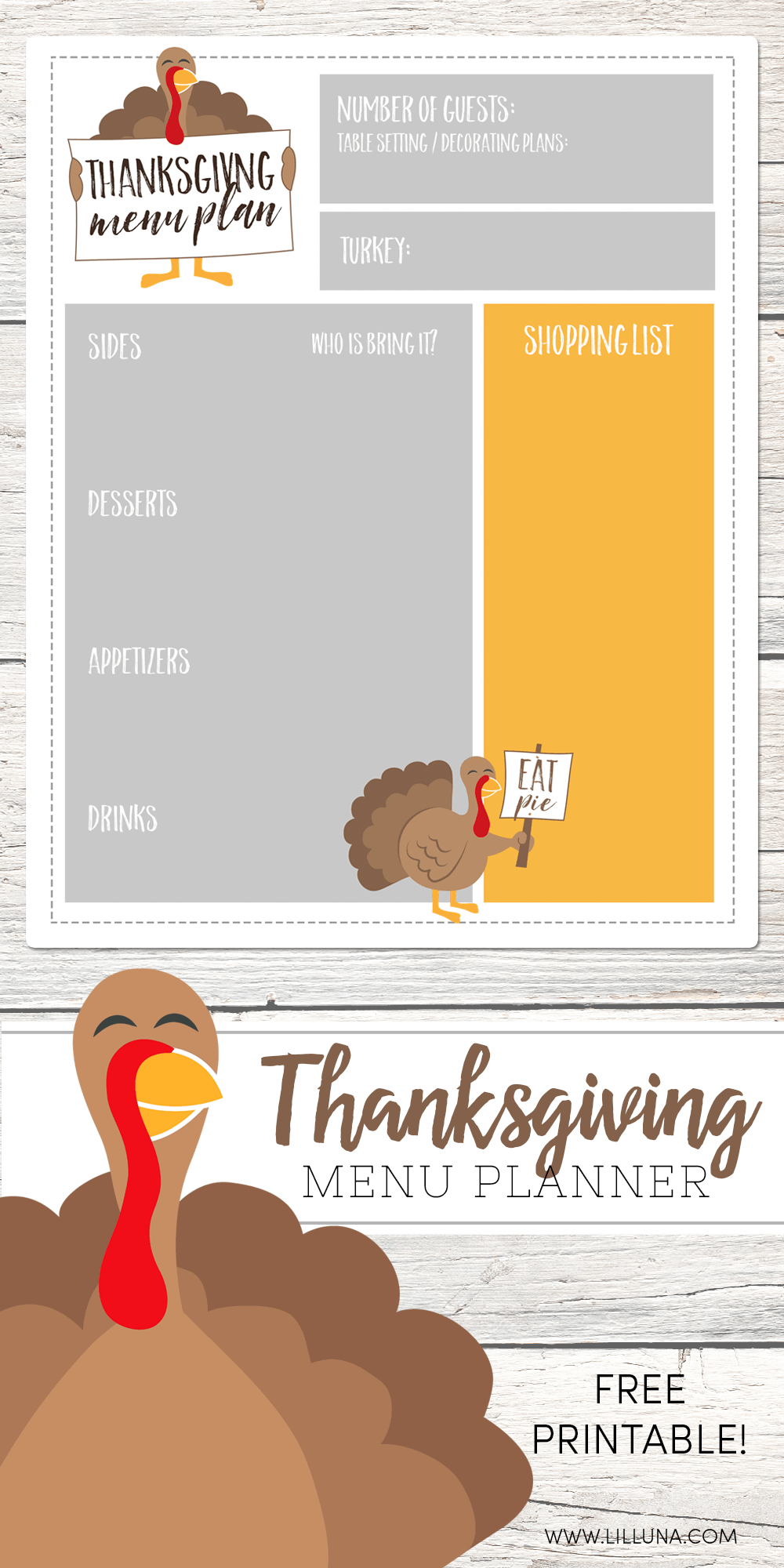 photograph regarding Thanksgiving Menu Planner Printable named Totally free Thanksgiving Menu Planner Lil Luna