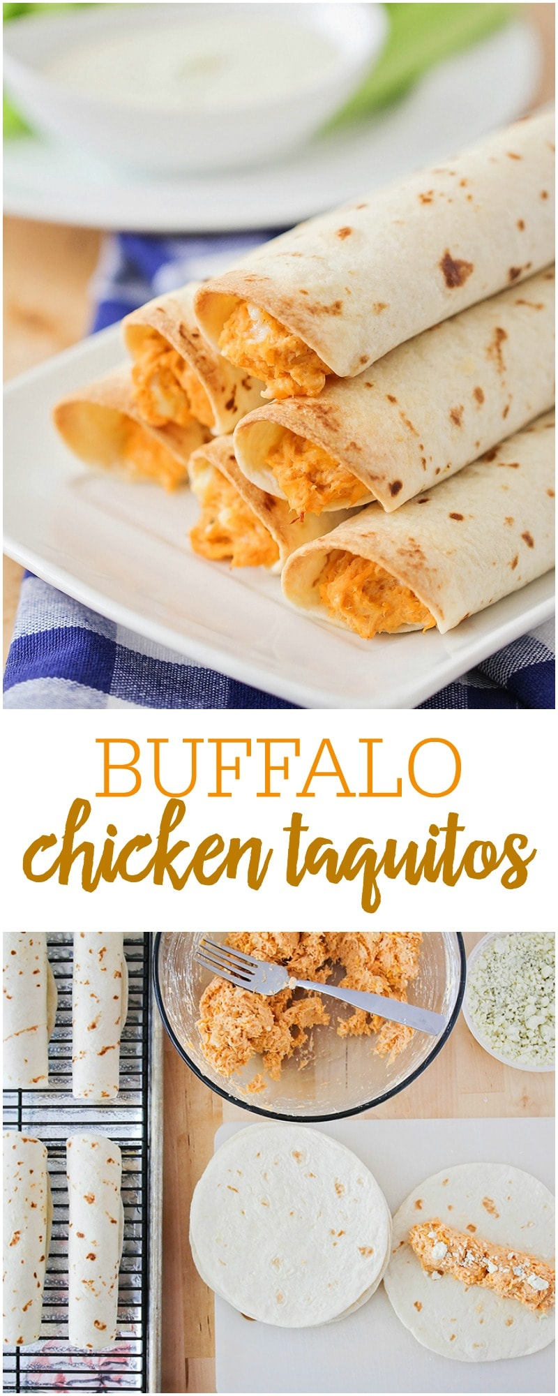 Simple and delicious Buffalo Chicken Taquitos - great for dinner or served as an appetizer.