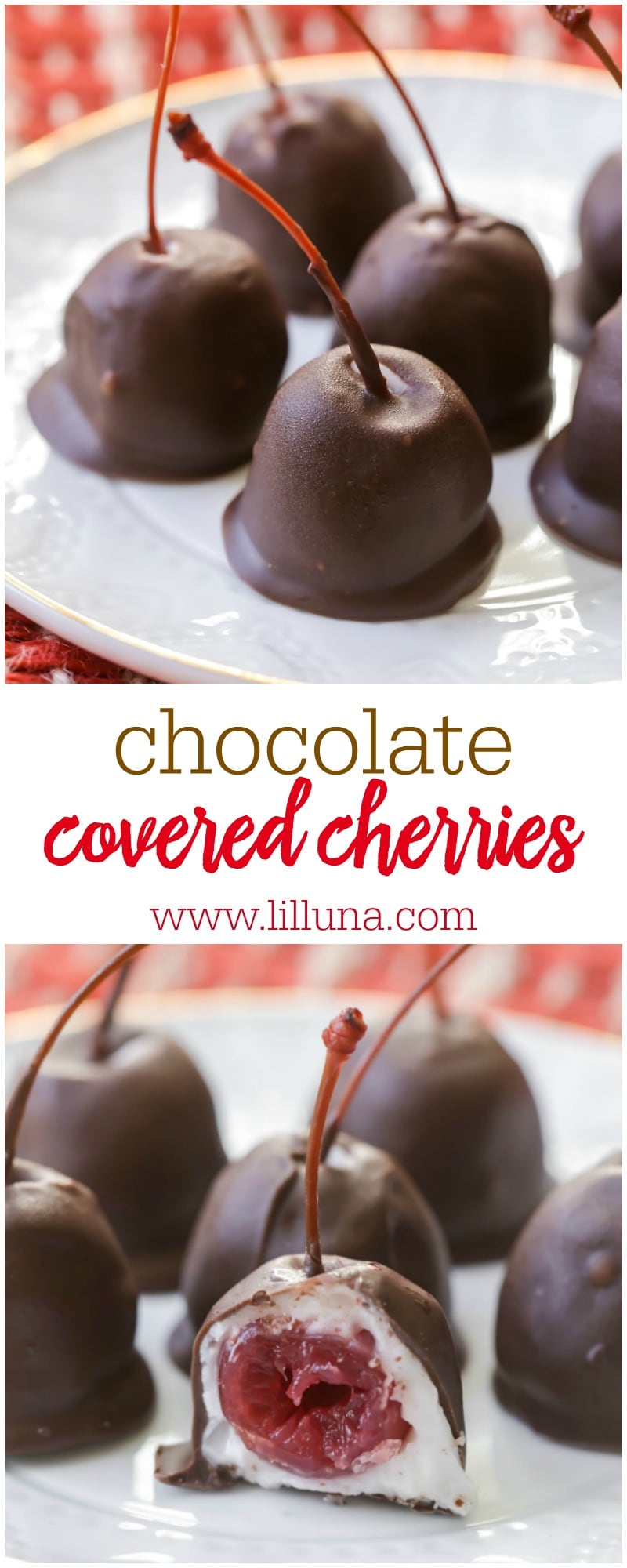 Homemade Chocolate Covered Cherries - just like you buy them in the box! Now you can make these yummy holiday treats at home.