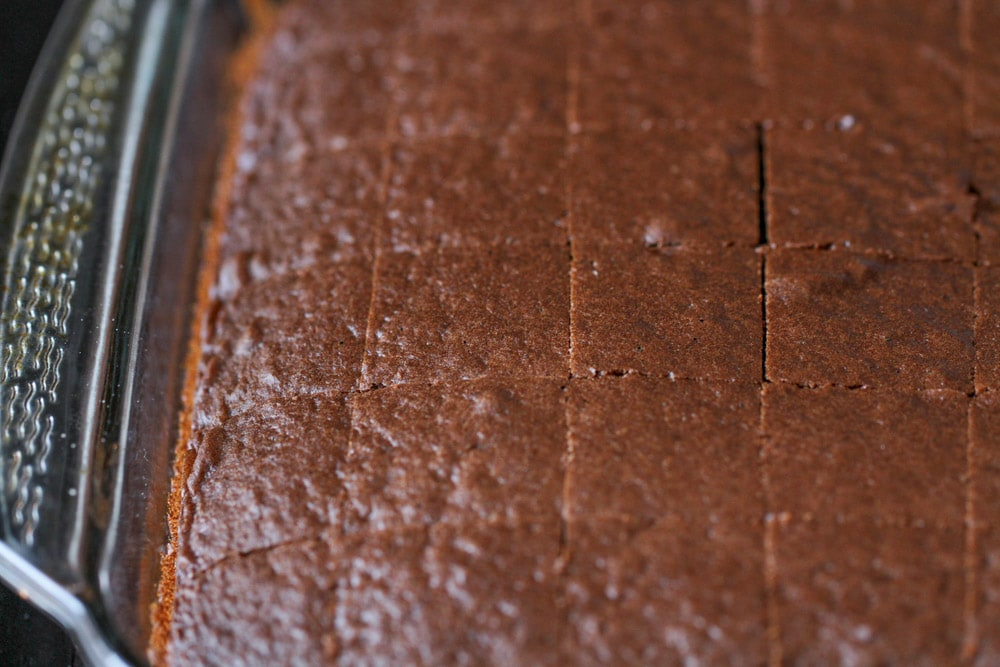 Chocolate cake cut into slices to put in Christmas trifle recipe