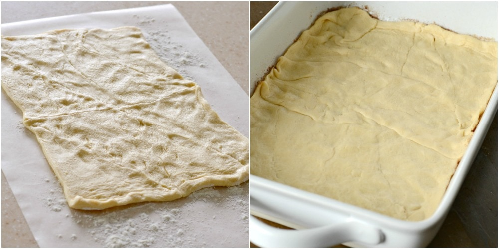Dough rolled out then pressed in a baking dish