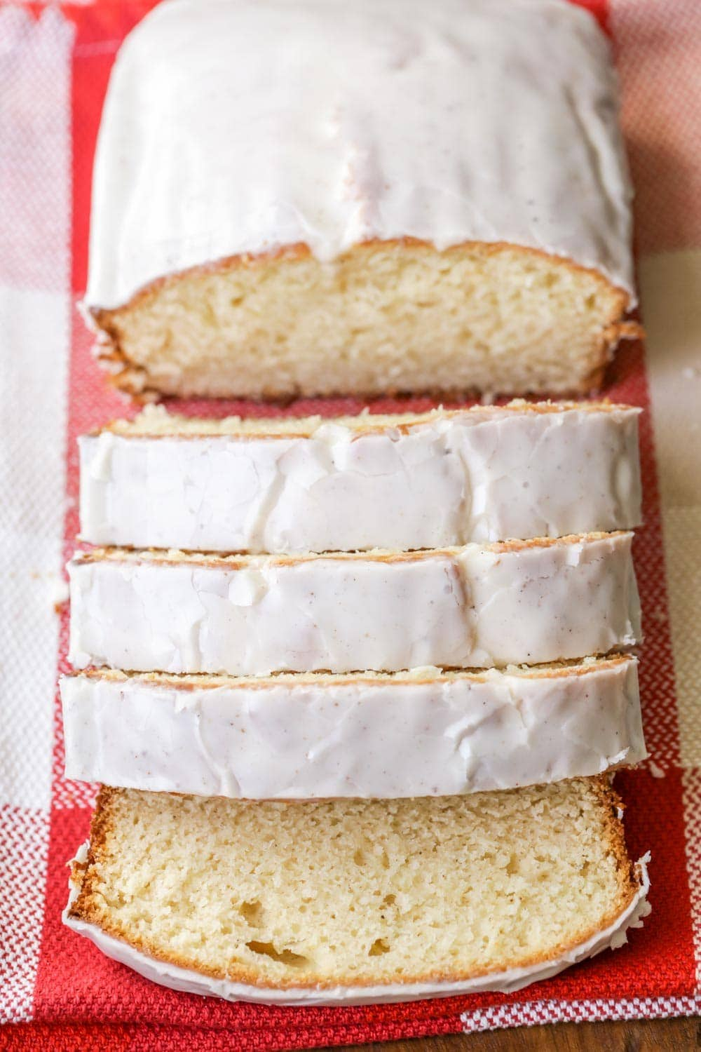 Eggnog quick bread cut into slices