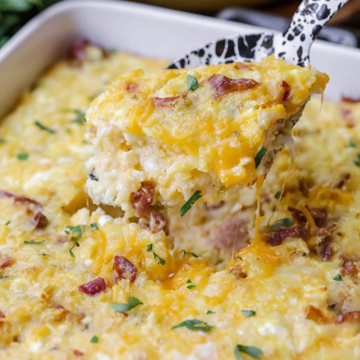 Hashbrown Breakfast Casserole scooped out
