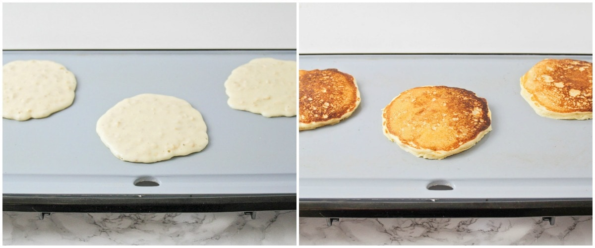 3 oat pancakes being cooked on a griddle