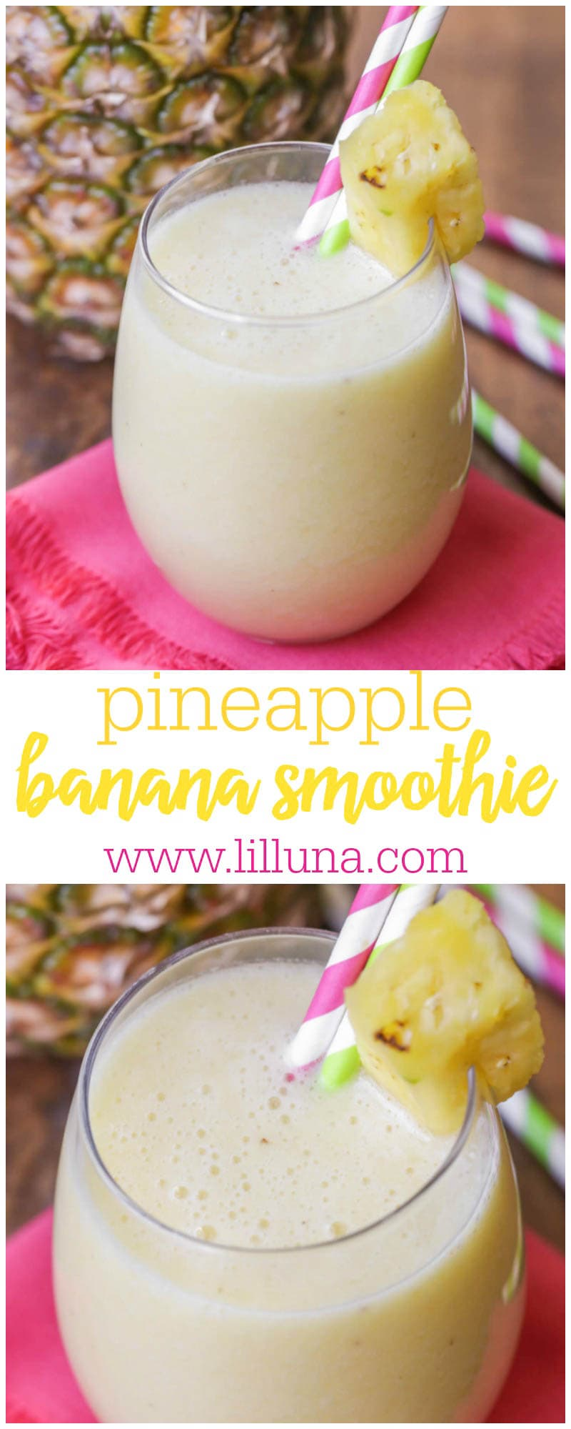 Pineapple Banana Smoothie recipe - a simple, quick and tasty smoothie with bananas, pineapple, juice and ice. It's a family favorite and tastes amazing!