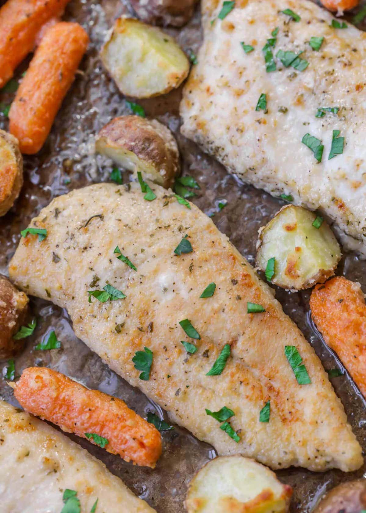 baked Ranch Chicken breast garnished with fresh parsley