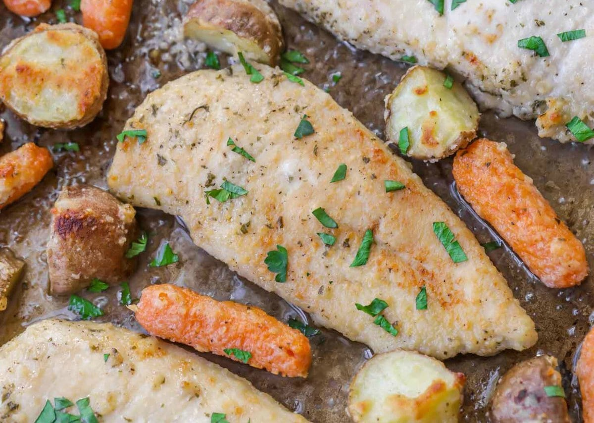 Sheet Pan Ranch Chicken with carrots and potatoes