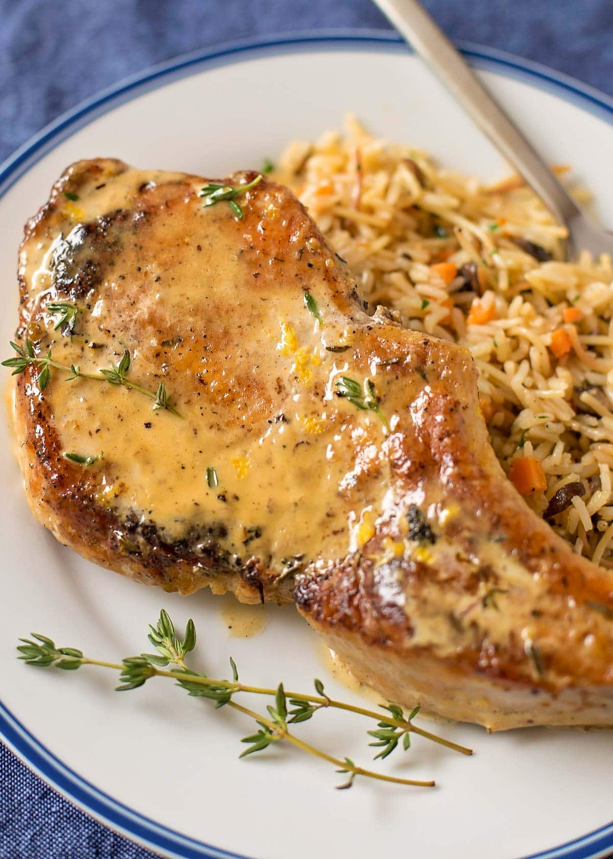 A smothered pork chop on a plate with rice