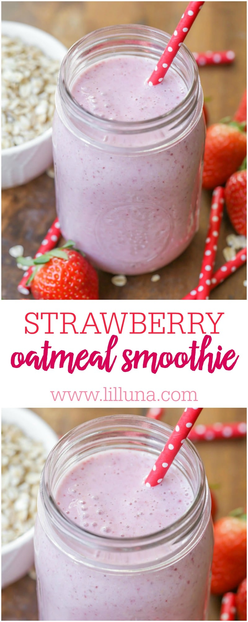 A simple and delicious Strawberry Smoothie recipe - filled with oats, banana, strawberries and milk!