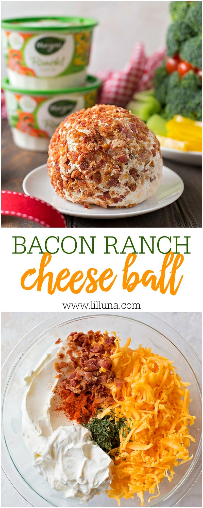 Delicious and easy Bacon Ranch cheese ball recipe using Marzetti Dips. This simple and tasty appetizer is perfect for your next party!