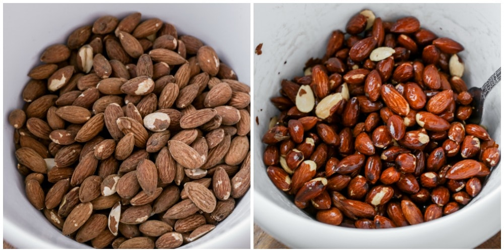 Mixing almonds with cinnamon candy coating in a mixing bowl