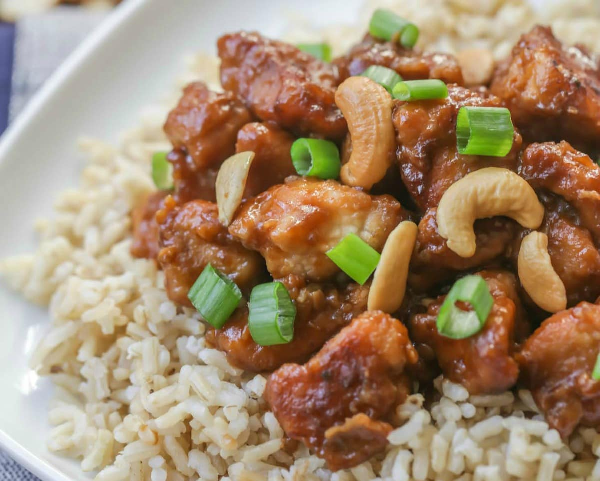 Crock Pot Cashew Chicken over brown rice