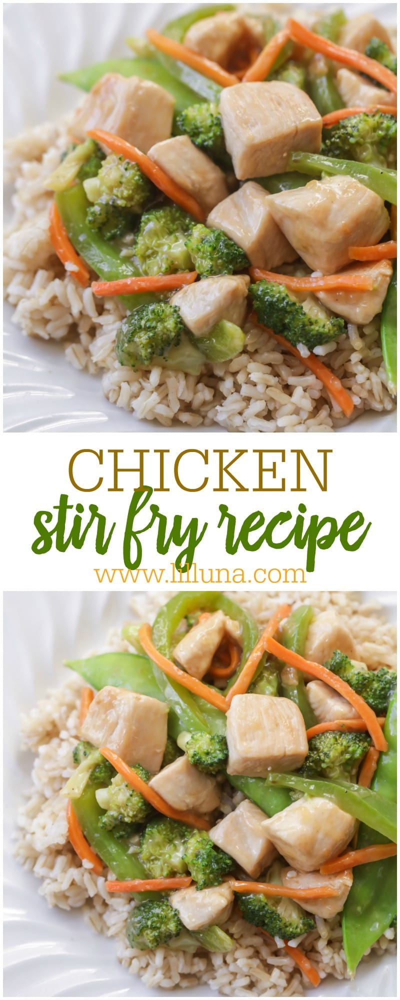 Simple, quick, and delicious Chicken Stir Fry. This tasty dinner is simple and is filled with broccoli, carrots, and snow peas!