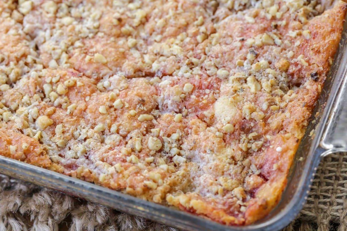 Cherry Pineapple Dump Cake in a casserole dish