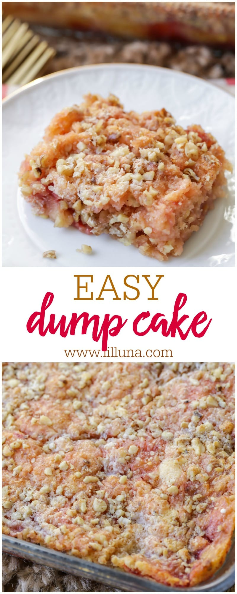 Everyone loves a good Dump Cake recipe! This one is filled with cherry pie filling, crushed pineapples and is topped with cake mix, walnuts and butter!