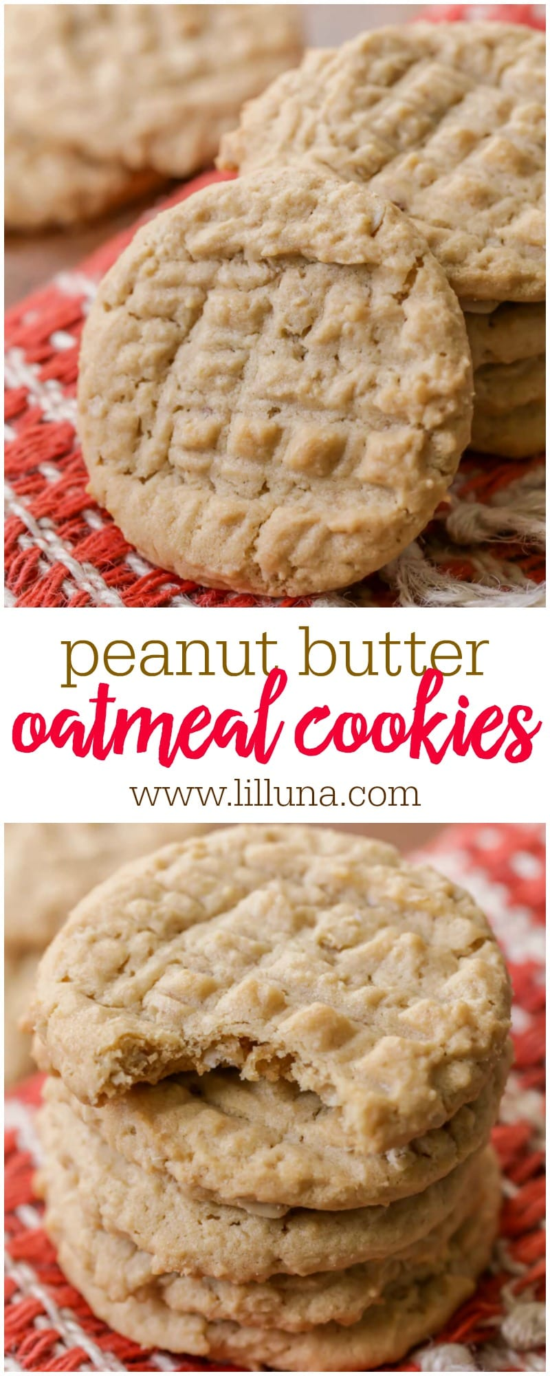 Two of everyone's favorite cookies in one - these Peanut Butter Oatmeal cookies are soft, chewy and so delicious!