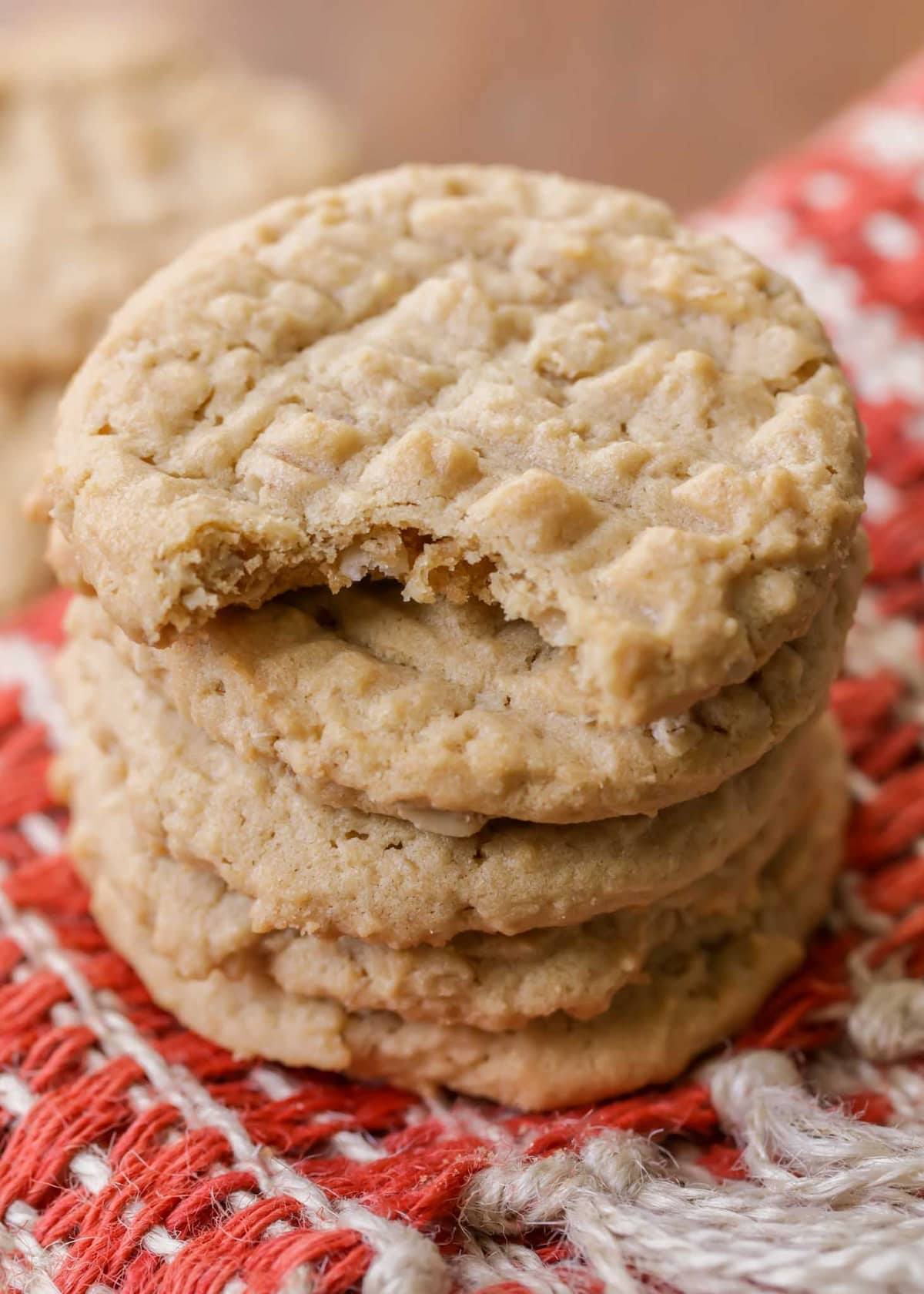 Chewy Peanut Butter Oatmeal Cookie with a bite taken out