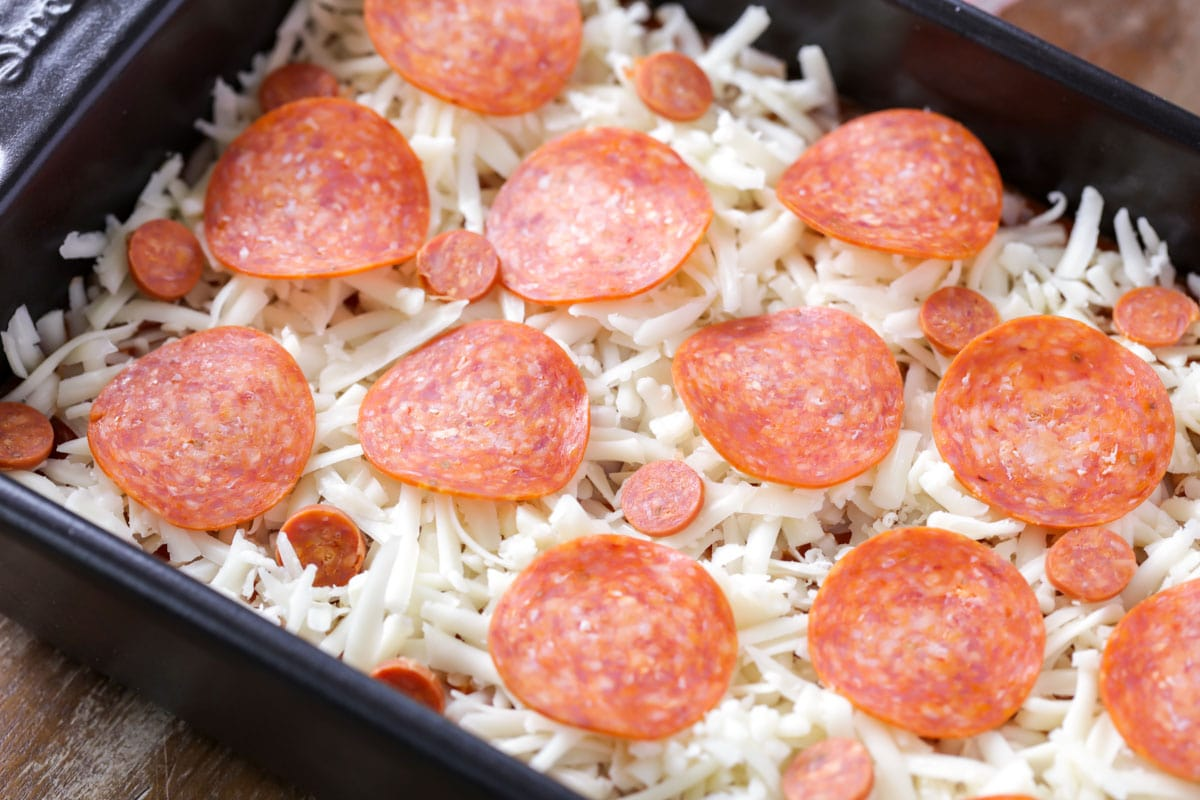 Pepperonis on pizza dip