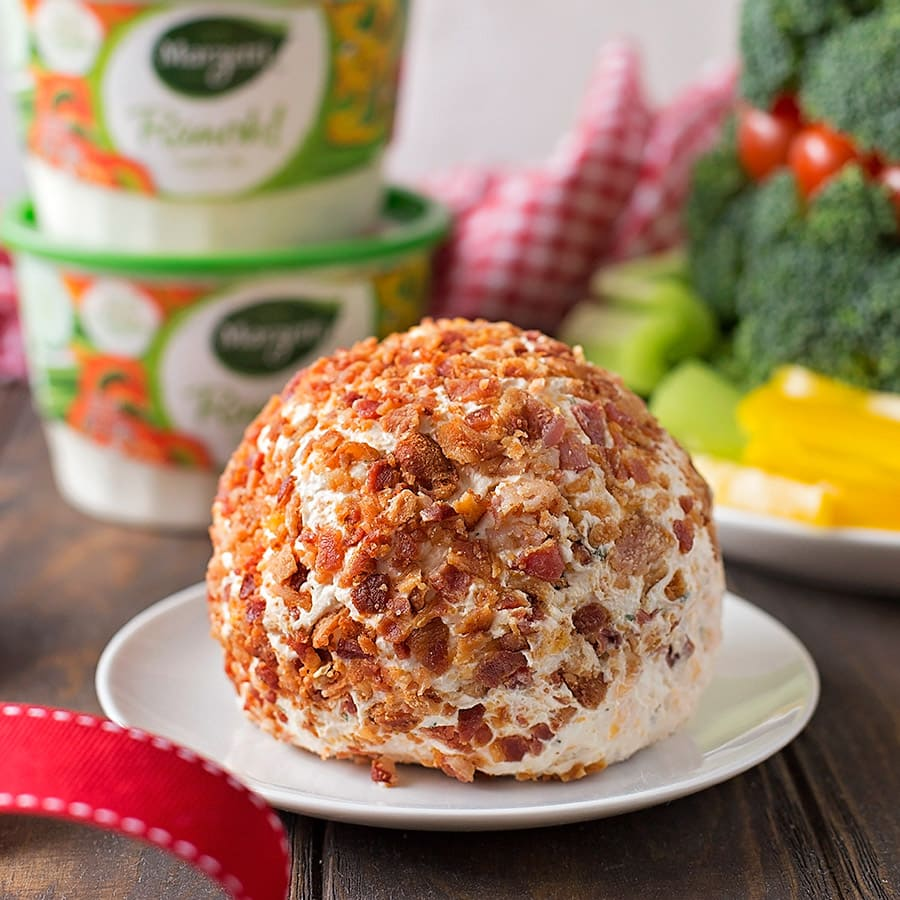 Bacon Ranch Cheese Ball on a white plate