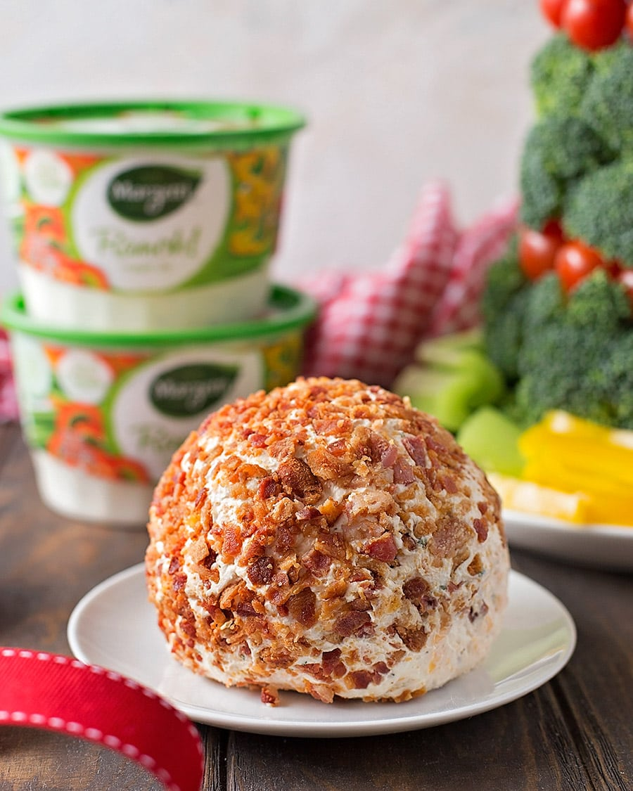 Bacon Ranch cheese ball recipe on a white plate
