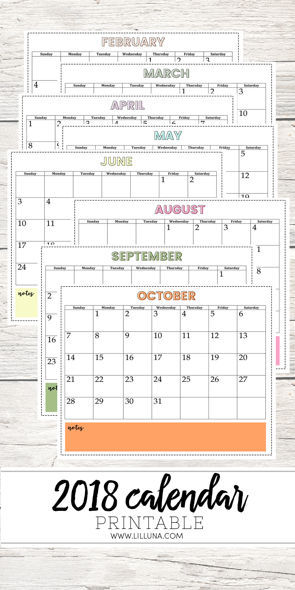 FREE 2018 Calendar - download, print and use to keep organized with monthly events, meal planning, cleaning and all tasks to do each day, week and month!