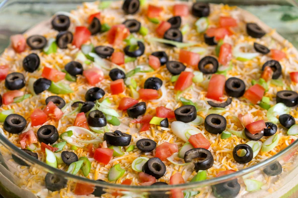 Seven Layer Bean Dip Recipe in bowl