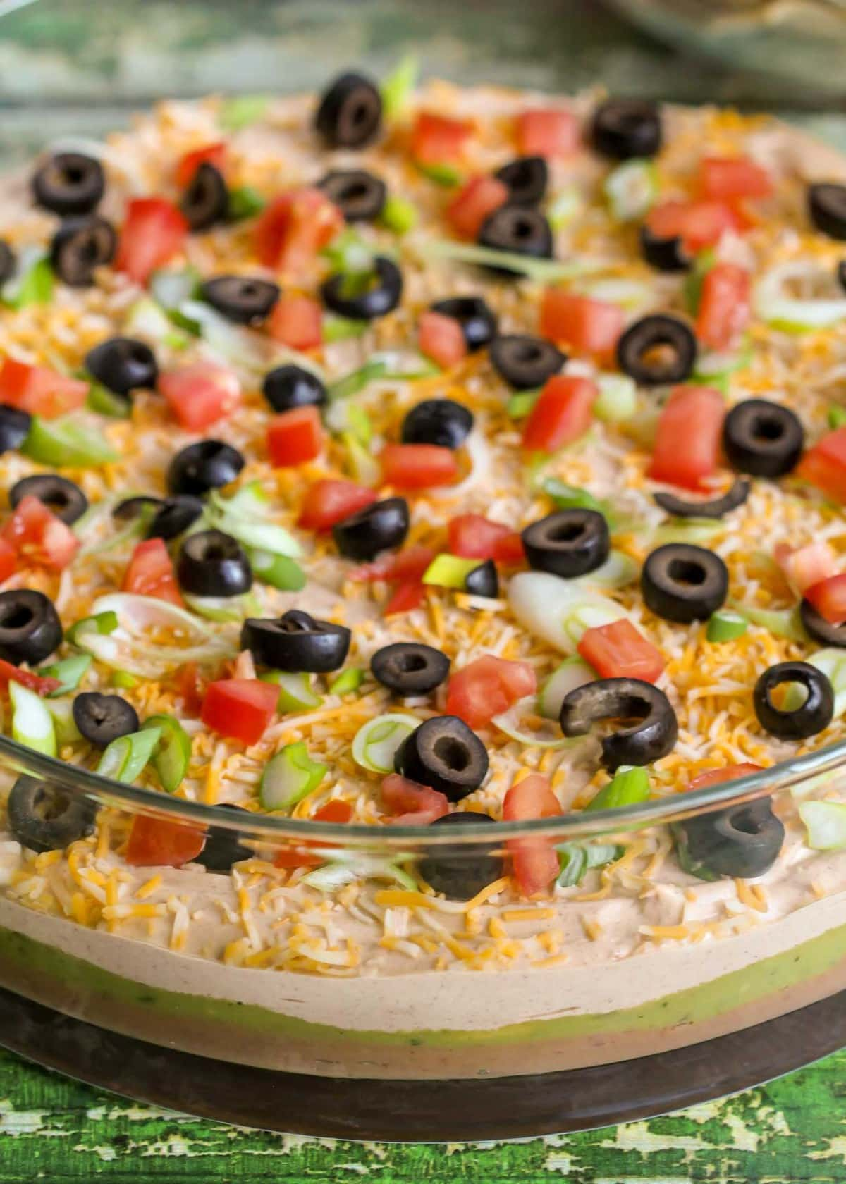 Close up of Layered Bean Dip