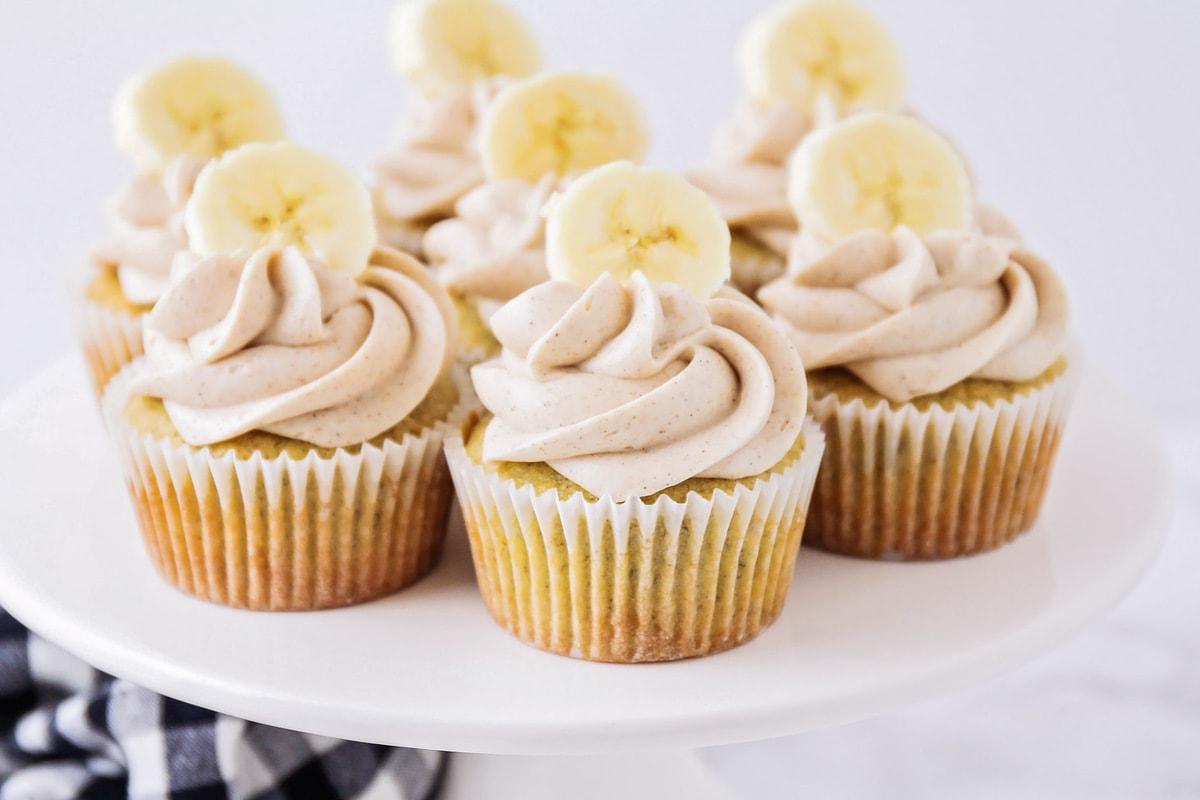 Banana cupcakes on a cake stand