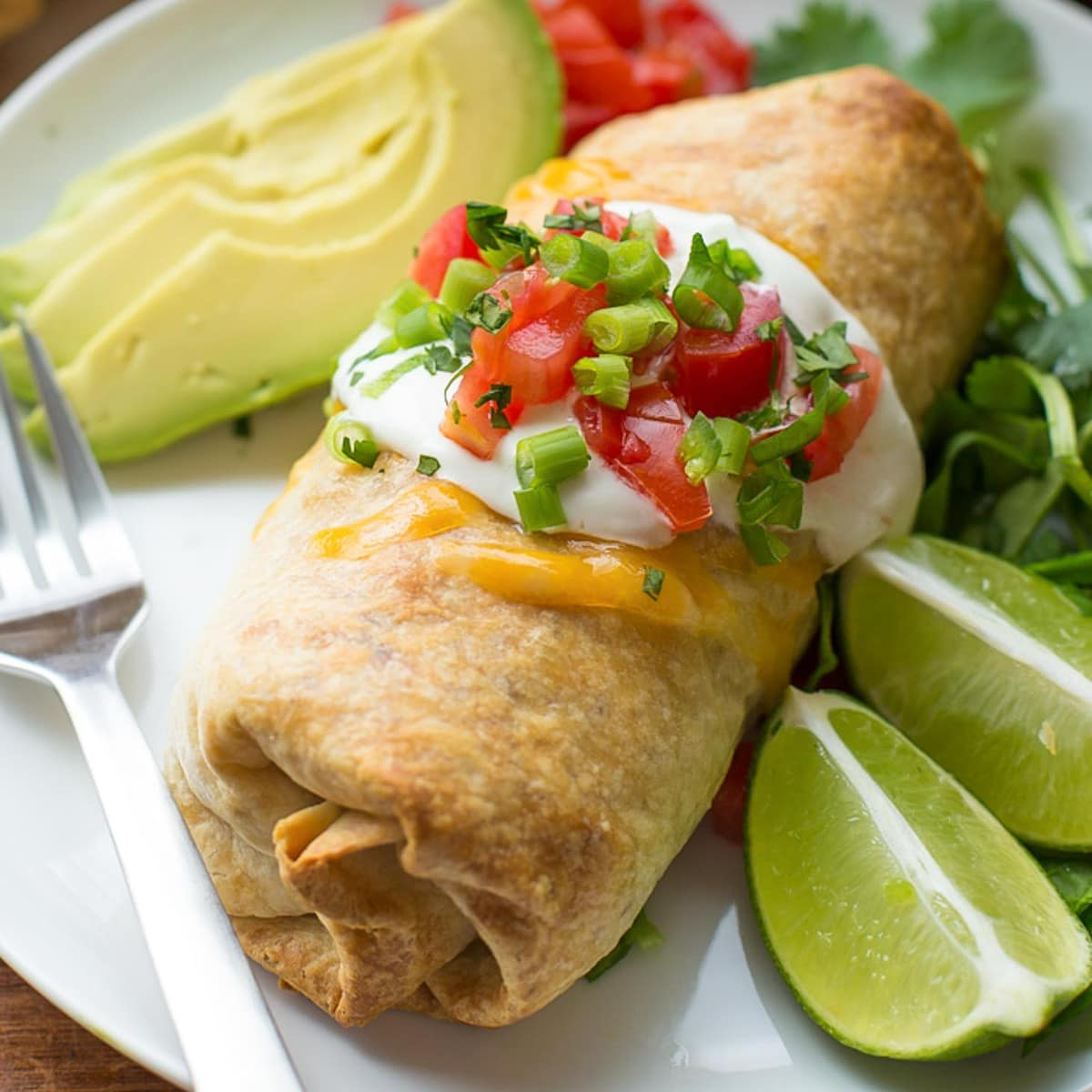 Chimichanga Recipe on plate.