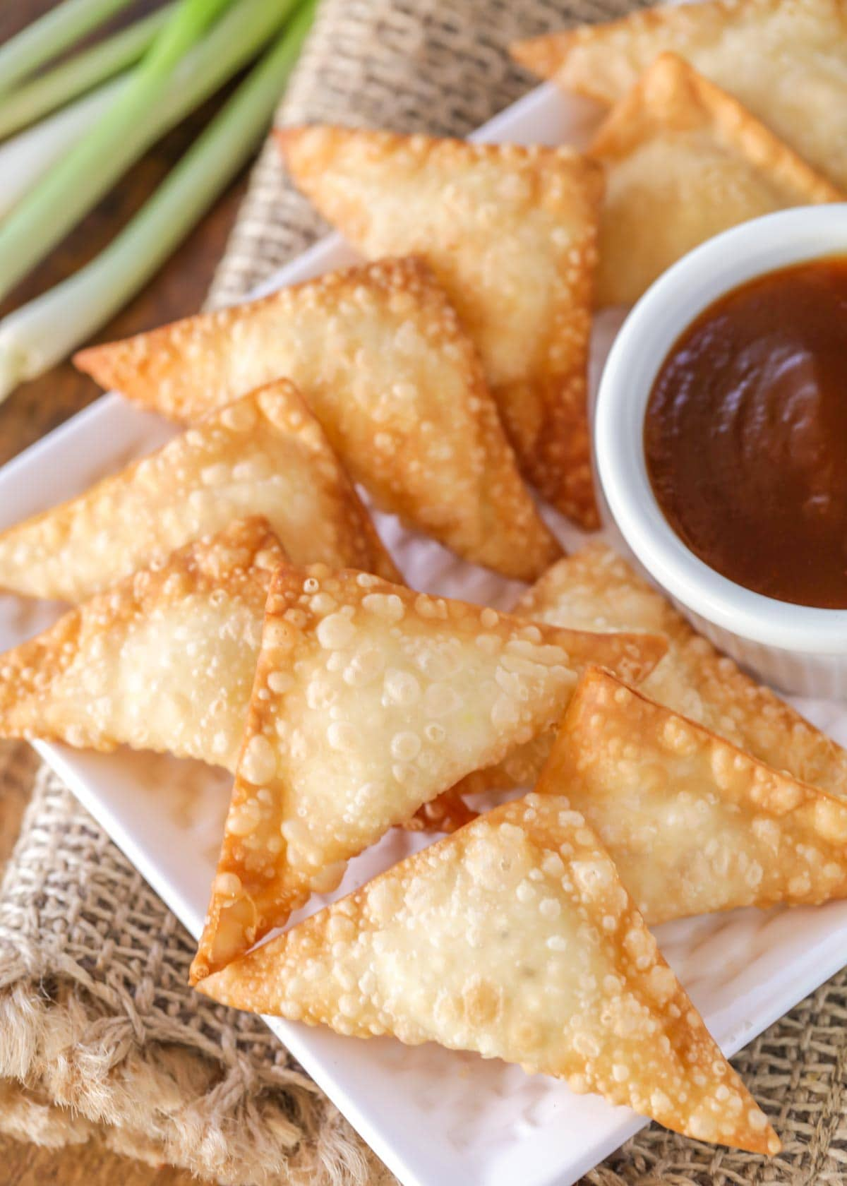 Cream cheese wontons recipe fried, on a white plate