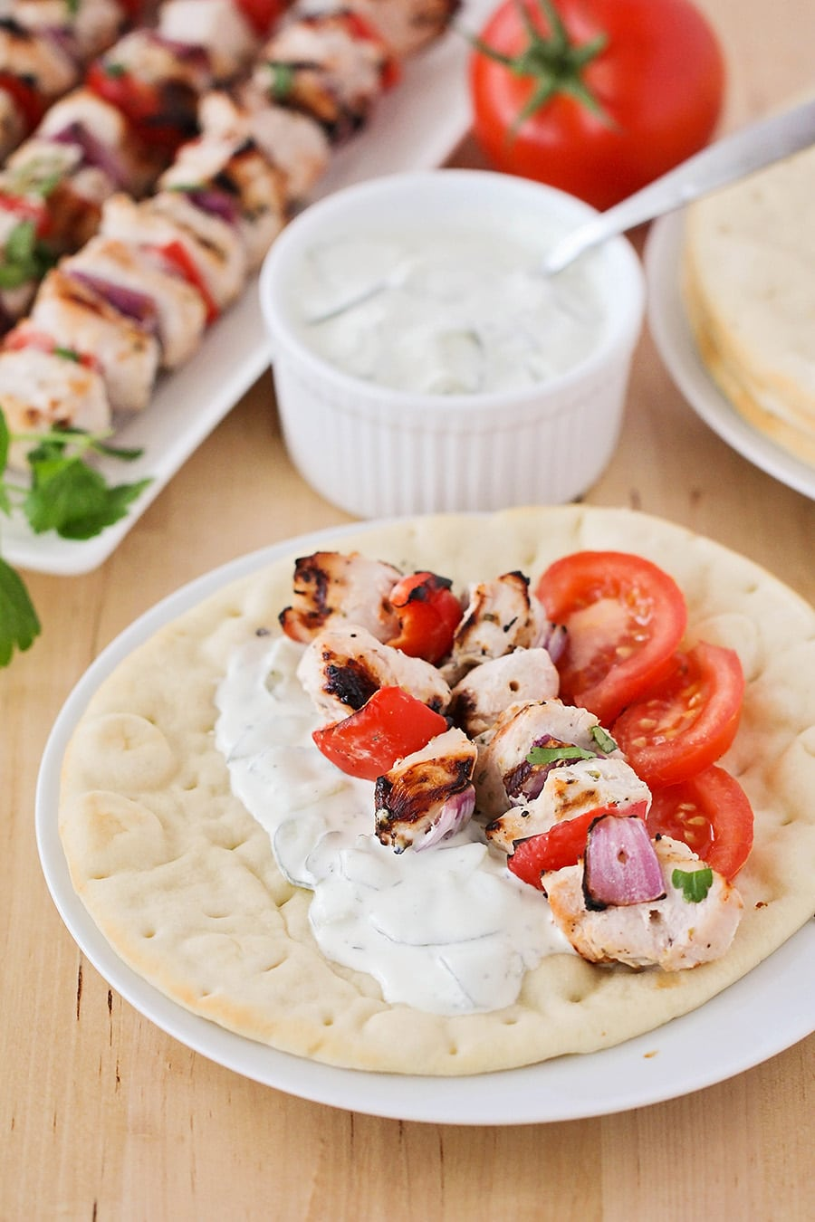 Chicken Souvlaki served on pita bread
