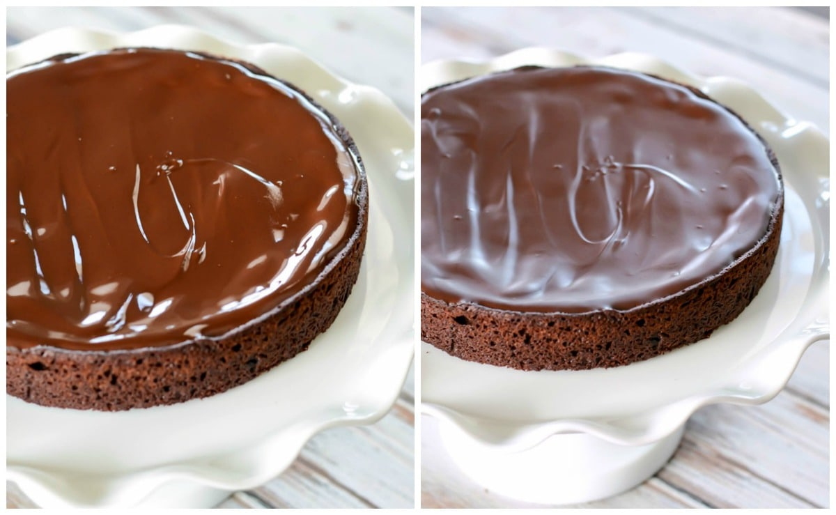 Easy Flourless Chocolate Cake with chocolate glaze on a cake stand