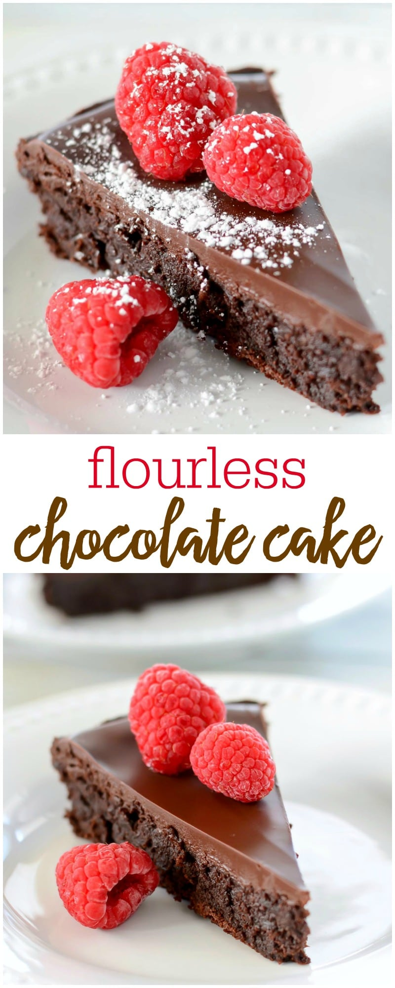 The BEST Flourless Chocolate Cake recipe. This simple, smooth and fudgy cake is sure to get rave reviews!