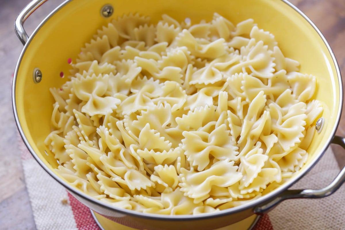 Bowtie pasta in strainer