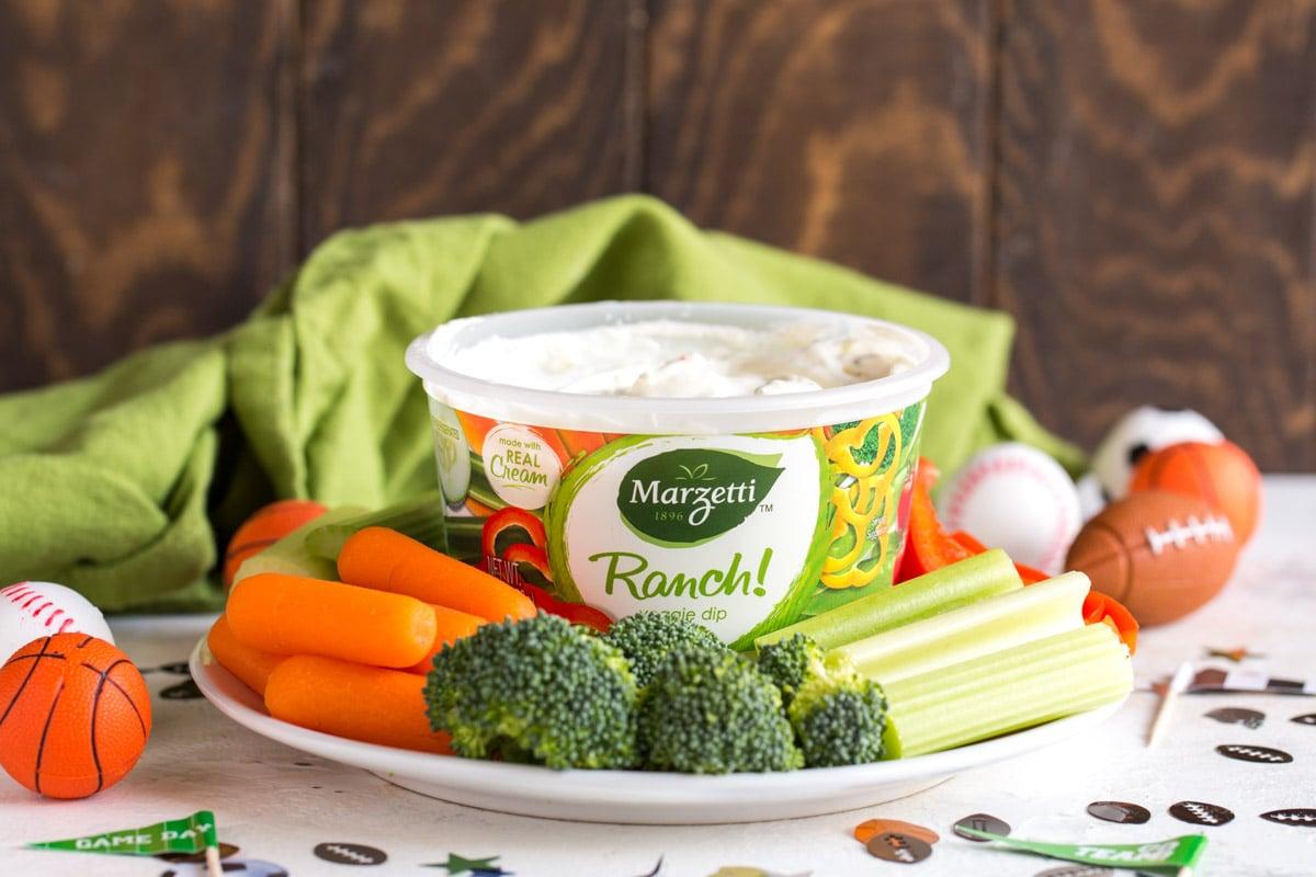 Ranch dip used in veggie tortilla roll ups