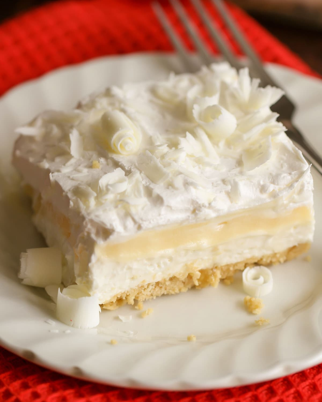 White Chocolate oreo lasagna on a white plate