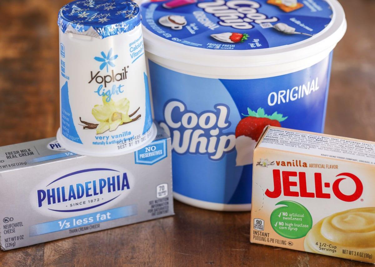 Ingredients for yogurt fruit dip recipe