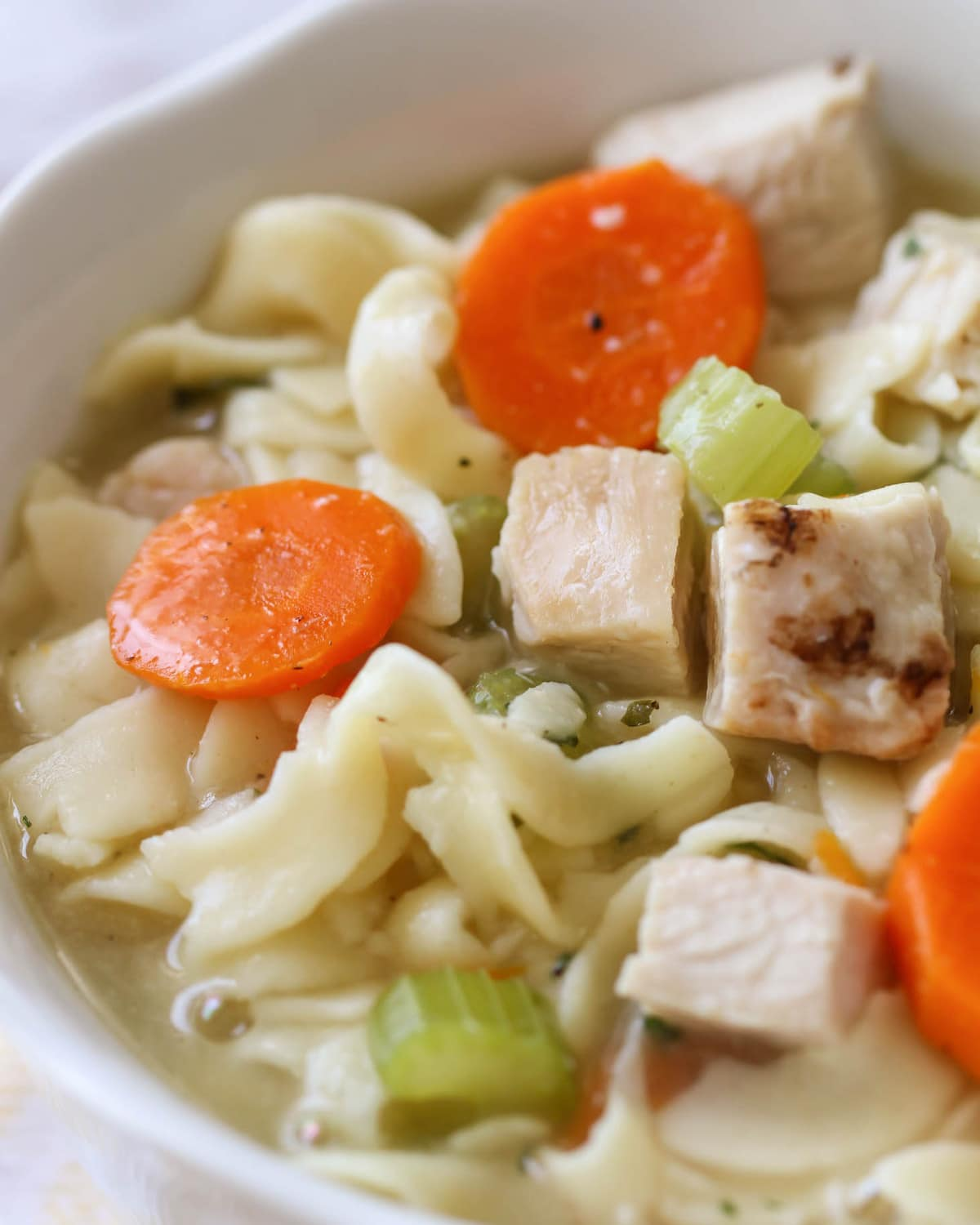 Homemade Chicken Noodle Soup recipe close up in bowl