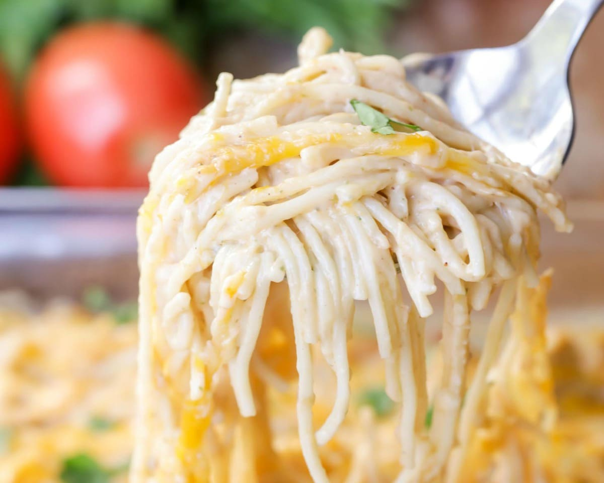 Chicken Spaghetti recipe on serving spoon