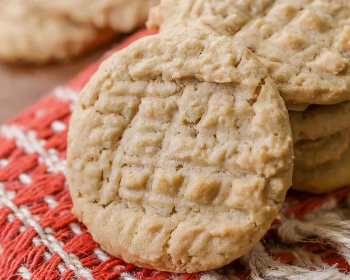 Peanut Butter Oatmeal Cookies on a dish towel