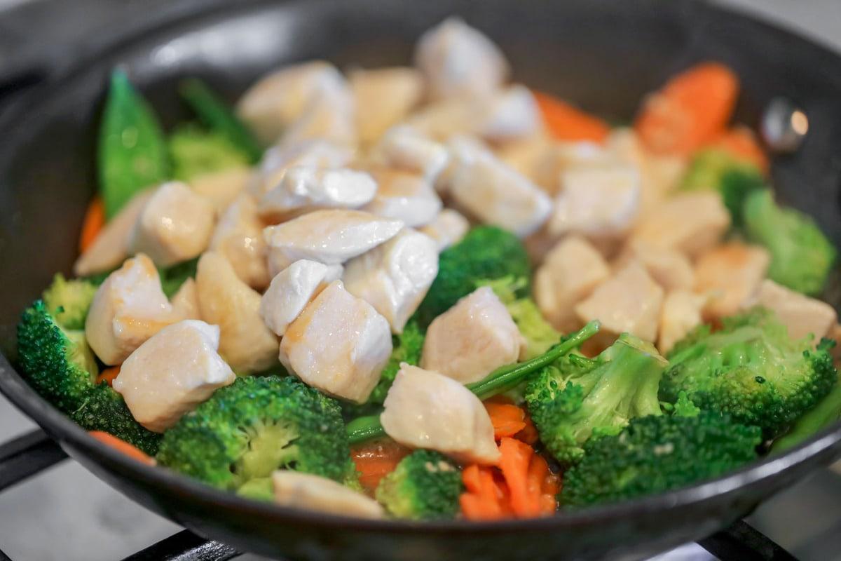 Stir fry cooking in skillet