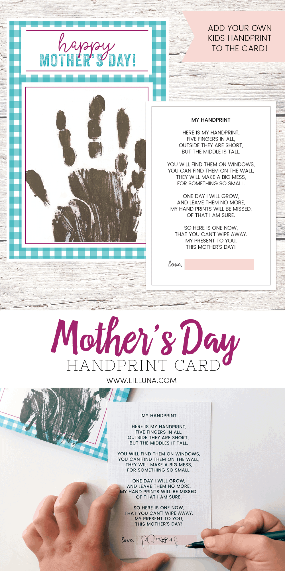 image relating to Printable Mothers Day Poems identified as Moms Working day Poem + Free of charge Handprint Card Lil Luna