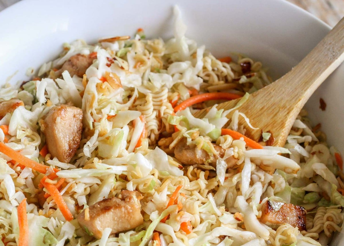 Asian coleslaw recipe lil luna this is not your typical coleslaw recipe this asian coleslaw is light and refreshing filled with crushed ramen noodles slivered almonds sunflower seeds forumfinder Choice Image